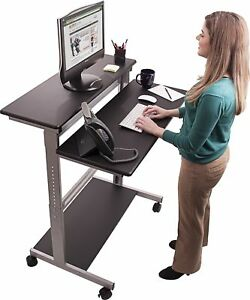 40 Black Shelves Mobile Ergonomic Stand Up Desk Computer Workstation
