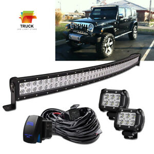 Upper Roof 50 Curved Led Light Bar 2x 18w For 99 04 Jeep Grand Cherokee Wj