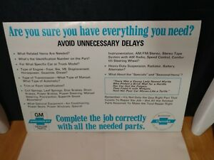 Chevrolet Parts Department Advertising Tent Card Chevy Counter Upsell Nos