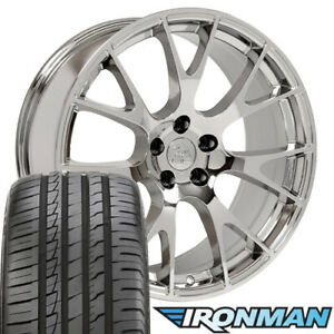 20x9 Rims Tires Tpms Fit Dodge Hellcat Style Chrome Wheels Ironman Tires 2528