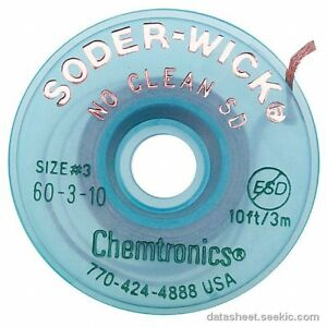 Chemtronics 60 3 10 Soder Wick No Clean Sd Desoldering Braid 5 Pack