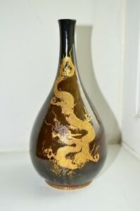 An Antique Special Japanese Satsuma Bottle Vase By Kinkozan Meiji Period