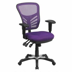 Mid back Task Chair adj Arms purple Flash Furniture Hl 0001 pur gg