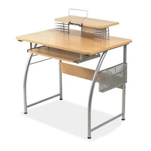 Upper Shelf Laminate Computer Desk maple Lorell Llr14337