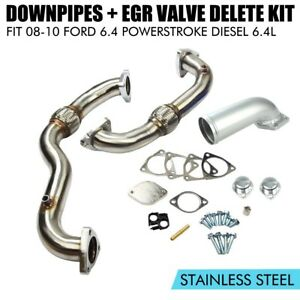 Fits 2008 2010 Ford 6 4l Powerstroke Heavy Duty Up Pipes Master Egr Valve Delete