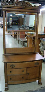 Antique Hand Carved Solid Oak Wash Stand With Mirror Towel Bar