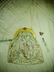 Antique Chinese Blue Silk Embroidered Long Purse Pouch Bag Tassel Bakelite Hinge
