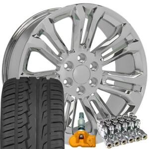 22 Rims Fit Chevy Silverado Sierra Cv43 Chrome Imove Tires Lugs Tpms 5666