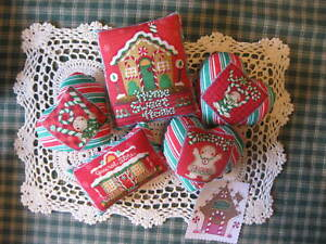 Handmade Christmas Gingerhouse Fabric Bowl Fillers Ornies Doll