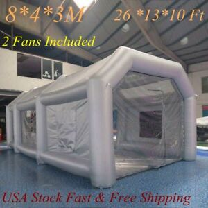 New Inflatable Giant Car Workstation Spray Paint Booth Tent 8 4 3m Grey