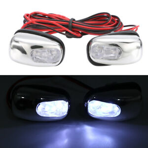 2 Universal White Led Light Windshield Jet Spray Nozzle Wiper Washer Eyes