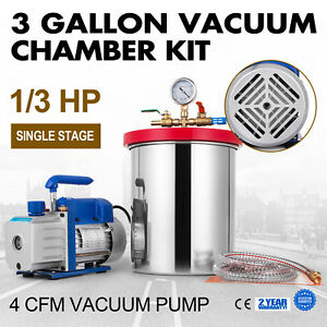 3 Gallon Vacuum Chamber 4 Cfm Deep Vane Pump Epoxy W 4cfm Stainless Steel