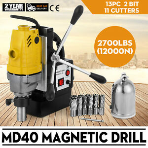 Md40 Magnetic Drill Press 13pc Cutter Set 1 Hss Cutte Kits Rack Precise Newest