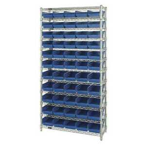 Bin Shelving wire 36x18 55 Bins blue Quantum Storage Systems Wr12 104bl