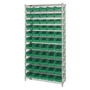 Bin Shelving wire 36x18 55 Bins green Quantum Storage Systems Wr12 104gn