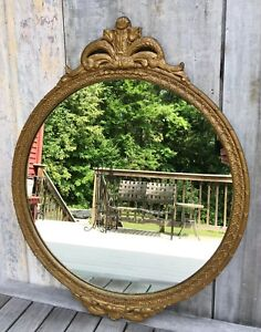 Antique French Louis Xvi Carved Giltwood Gesso Round Mirror Acanthus C 1920