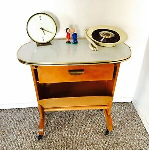 Mid Century Telephone Table Side End Table Magazine Cart Trolley Vintage Formica