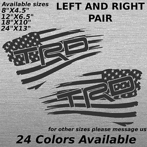 Trd Toyota Racing Development Tattered Flag Decal Sticker Bed Side Tacoma Pair 2
