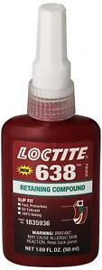 Loctite 21448 Green 638 High Strength Retaining Compound 50 Ml Bottle New