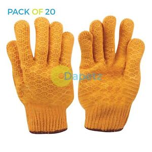 Yellow Criss cross Gripper Gloves Construction And General Use 20 Pcs