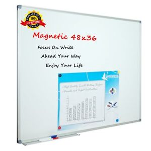 Lockways White Board Dry Erase Board 48 X 36 Magnetic Whiteboard 4 X 3 Silver