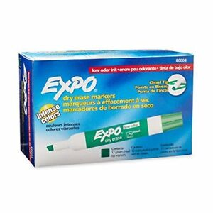 Expo 2 Low odor Dry Erase Markers Chisel Tip 12 pack Green 80004 Size Color