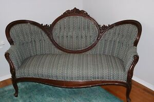 Rare Set Of Antique Victorian Carved Walnut Settee Armchair