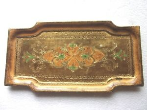 Vintage Florentine Tole Wooden Tray Unusual Shape