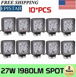 10x 27w Spot Led Work Light Square Offroad Boat Car Tractor Truck Suv Fog Lamp