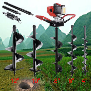 One Man 52cc Gas Post Hole Digger Fence Earth Digger W 4 6 8 10 Auger Bits