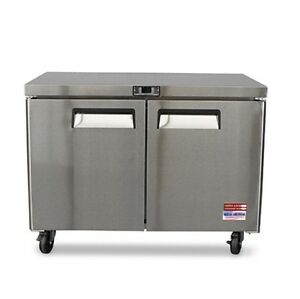 2 Door Under Counter Work Top Refrigerator Cooler 48 Fridge