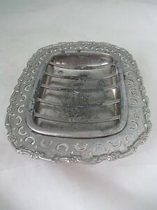 Antique Victorian Footed Wilcox Meriden Quadruple Plate Soap Dish Reticulated