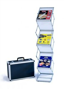 Literature Rack Stand 6 Shelf Frosted Trade Show Display includes Hard Case