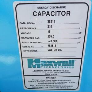 Maxwell Energy Products 210uf 15kv High Voltage Capacitor 36216 High Energy