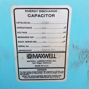 Maxwell Energy Products 830uf 11kv High Voltage Capacitor 32369 High Energy