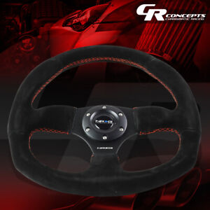 Nrg Reinforced 320mm Black Suede Red Stitch D shape Steering Wheel Replacement