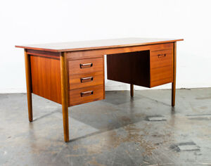 Mid Century Danish Modern Desk Teak Office Executive Vintage Denmark Bookshelf M