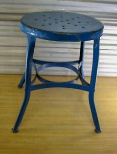 Vtg Toledo Small Metal Distressed Industrial Shop Stool Round Seat Blue