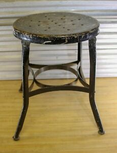 Vtg Toledo Small Metal Distressed Industrial Shop Stool Round Seat Black
