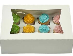 Window Bakery Cupcake Box With Insert 14 X 10 X 4 Fits 12 Standard Size Cupca