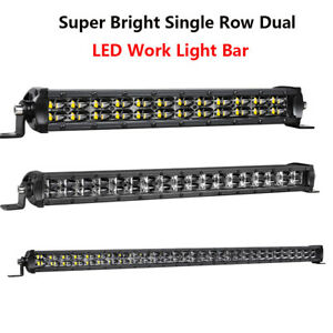 14 20 30 Inch Single Row Dual Slim Led Work Light Bar For Offroad Truck Car Usa