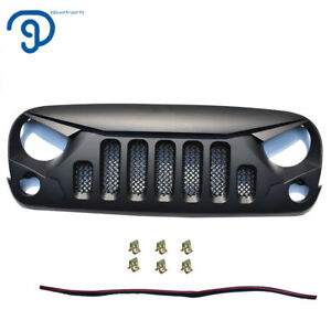 Angry Bird2 Front Replacement Black Mesh Grille For 07 18 Jeep Wrangler
