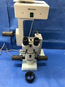Wild Leica M690 Microscope Optics Carrier With Xy Bino And Red Reflex Objective