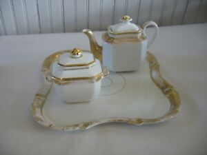 Antique Old Paris Porcelain 11 Square Tray Teapot W Lid Sugar Bowl W Lid 5 Pc