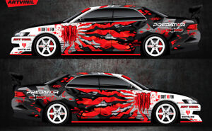 Car Side Full Color Vinyl Sticker Custom Body Decal Monster Energy Drift Blood