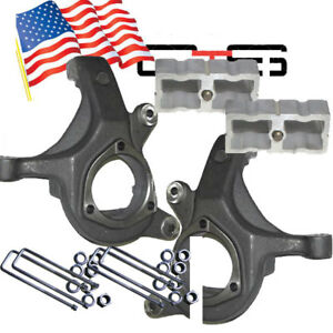 Chevy Lift Spindles Kit 1999 06 1500 Trucks 3 2 2wd Suspension Forged Blocks