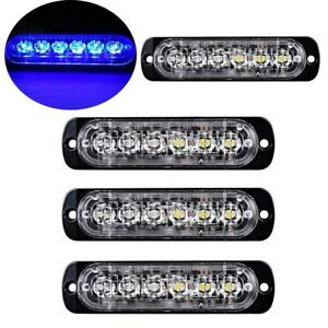 4pc Blue Blue 6led Car Truck Emergency Warning Hazard Flash Strobe Light