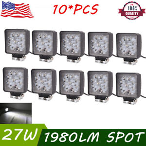 10x 4inch 27w Square Spot Beam Led Work Light Car Suv Driving Fog Lights 12v 24v