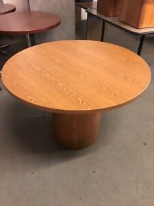 42 Round Conference Table By Hon Office Furniture In Med Oak Finish Laminate