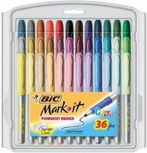 Bic Mark it Fine Point Permanent Markers 36 pkg assorted Colors